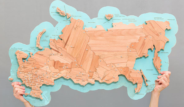 Wooden map of Russia